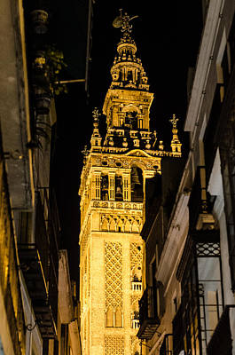 Seville - The Giralda At Night  Art Print by Andrea Mazzocchetti