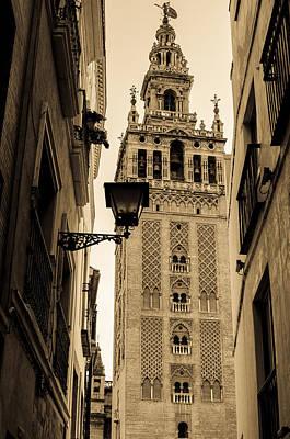 Religion Photograph - Seville - The Giralda In Sepia Tones by Andrea Mazzocchetti