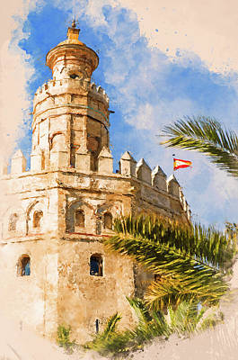 Painting - Seville, Torre Del Oro - 01 by Andrea Mazzocchetti