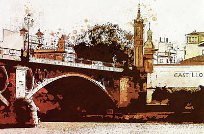 Painting - Seville, Triana Bridge - 01 by Andrea Mazzocchetti