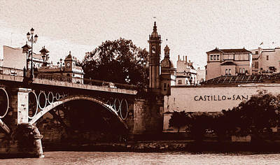 Painting - Seville, Triana Bridge And The Castle Of San Jorge by Andrea Mazzocchetti