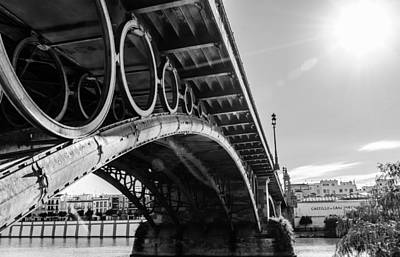 Seville - Triana Bridge Bw Art Print by Andrea Mazzocchetti