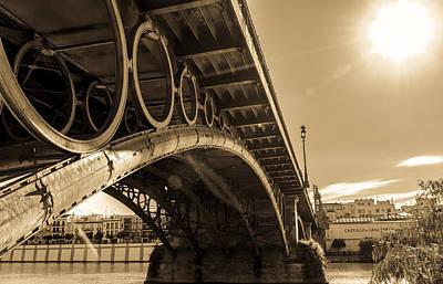 Summer Photograph - Seville - Triana Bridge Sepia Tones by Andrea Mazzocchetti
