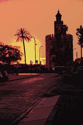 Painting - Sevillean Sunset, Torre Del Oro by Andrea Mazzocchetti