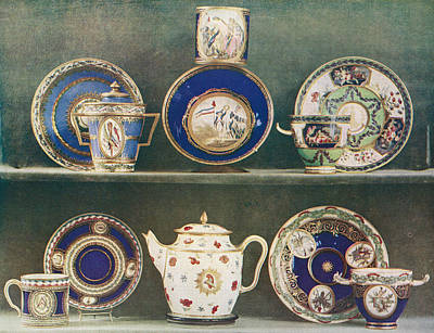 Teapot Drawing - Sevres Porcelain Decorated With Emblems by Vintage Design Pics