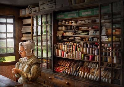 Sewing - Minding The Store  Art Print by Mike Savad