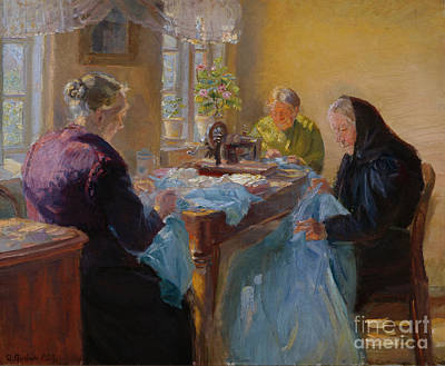 Sewing Room Painting - Sewing Blue Dress For The Costume Party by Anna Ancher