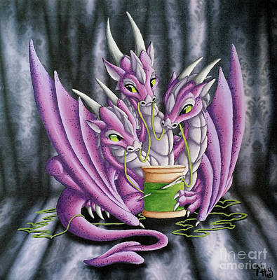 Painting - Sewing Dragons by Mary Hoy