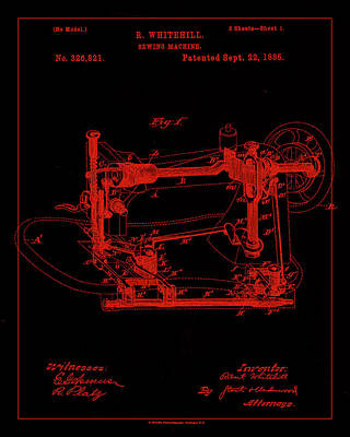 Sewing Mixed Media - Sewing Machine Patent Drawing 1d by Brian Reaves