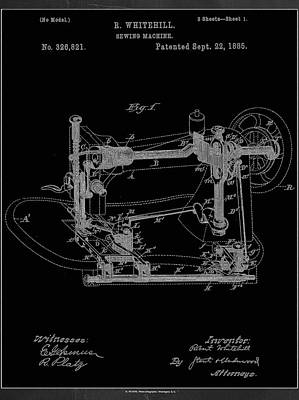 Sewing Mixed Media - Sewing Machine Patent Drawing 1e by Brian Reaves