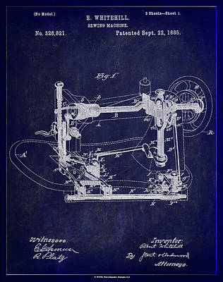 Sewing Mixed Media - Sewing Machine Patent Drawing  by Brian Reaves