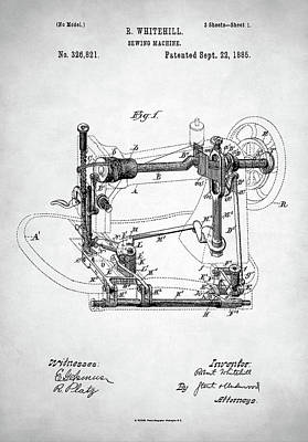 Digital Art - Sewing Machine Patent by Taylan Apukovska