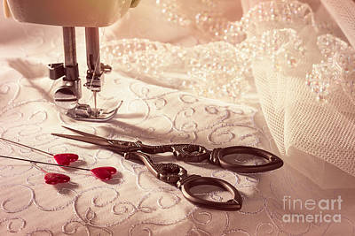 Sewing Scissors With Heart Shaped Pins Art Print
