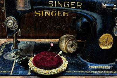 Bobbins Photograph - Sewing - Victorian Pin Cushion - Singer Sewing Machine by Paul Ward