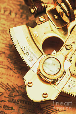 Old Map Photograph - Sextant Sailing Navigation Tool by Jorgo Photography - Wall Art Gallery