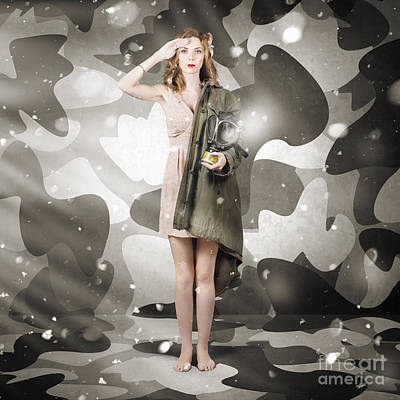 Special Force Photograph - Sexy Army Girl Saluting On Snow Camo Background by Jorgo Photography - Wall Art Gallery