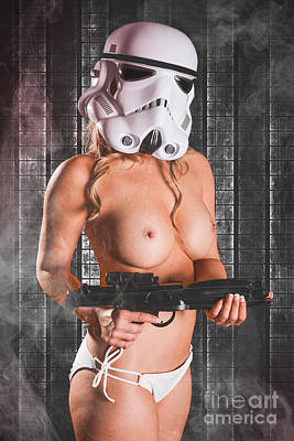 Nude Naked Female Nipple Women Breast Photograph - Sexy Blonde Trooper by Jt PhotoDesign