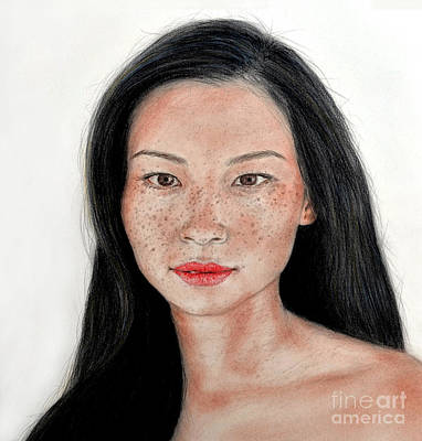 Mixed Media - Sexy Freckle Faced Beauty Lucy Liu by Jim Fitzpatrick