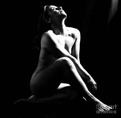 Classic Nude - Sexy Little Blonde Naked Woman In Black And White Art Print by Alkstudio SP