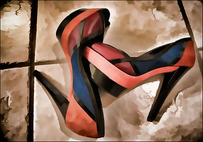 Foot Wear Digital Art - Sexy Orange High Heels by Ginger Wakem