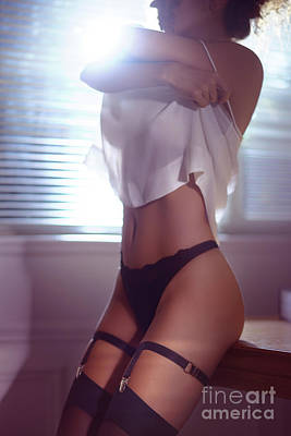 Sexy Woman In Black Stockings Undressing By The Window Taking Of Art Print