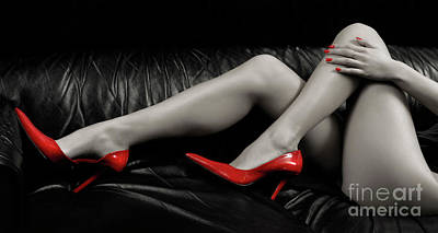 Fetish Photograph - Sexy Woman Legs In Red High Heels by Oleksiy Maksymenko