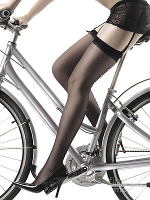 Underwear Photograph - Sexy Woman Riding A Bike by Maxim Images
