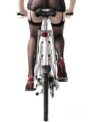 Stiletto Heel Photograph - Sexy Woman Riding A Bike by Oleksiy Maksymenko