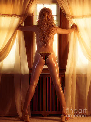 Sexy Woman Standing At A Window Art Print