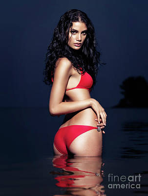 Sun Tan Photograph - Sexy Young Woman In Red Bikini Swimsuit Standing In Water by Oleksiy Maksymenko