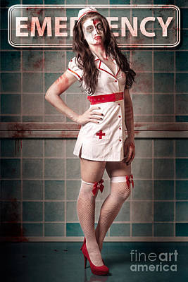 Sexy Zombie Medical Emergency Nurse In Hospital Er Art Print