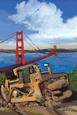 Golden Gate Painting - Sf And D9 by Brad Burns