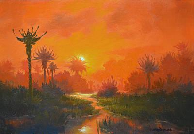 Alien Landscape Painting - Sfanomoe by Armand Cabrera