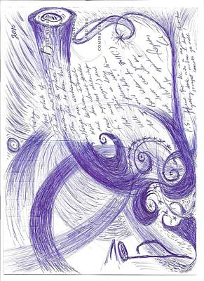 Cosmos Drawing - Sfz Image Scan Of A Woodwind Player's Mind Moments After The Trumpet's Clarion Call.. by Rich Graham