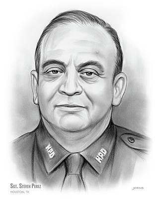 Drawings - Sgt. Steven Perez by Greg Joens