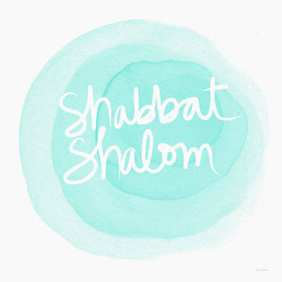 Shabbat Shalom Sky Blue Drop- Art By Linda Woods Art Print by Linda Woods