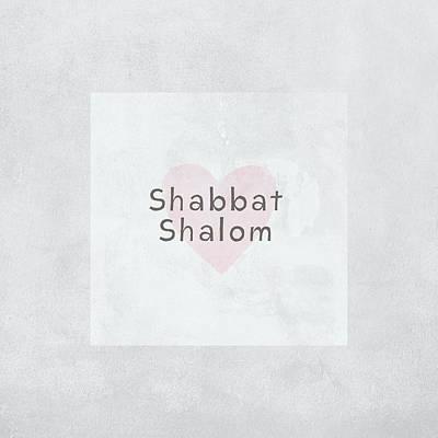 Shabbat Shalom Soft Heart- Art By Linda Woods Art Print