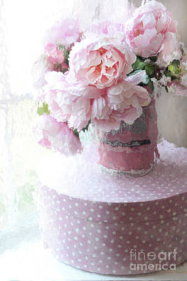 Photograph - Shabby Chic Cottage Garden Pink Impressionistic Peonies - Romantic Pink Peonies Vintage Sugar Bucket by Kathy Fornal