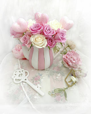 Photograph - Shabby Chic Valentine Pink And Yellow Roses In Vase - Romantic Roses Skeleton Key Art by Kathy Fornal