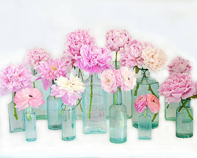 Photograph - Shabby Chic Cottage Pink Peonies In Mason Jars - Summer Garden Peonies In Vintage Aqua Bottles by Kathy Fornal