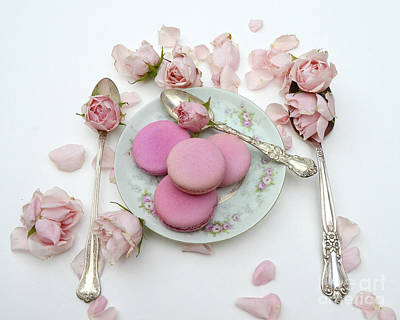 Shabby Chic Kitchen Photograph - Shabby Chic Cottage Pink Roses Macarons Vintage Spoon Art  by Kathy Fornal