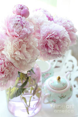 Photograph - Shabby Chic Cottage Romantic Pink Aqua Peonies - Dreamy Peonies Decor by Kathy Fornal
