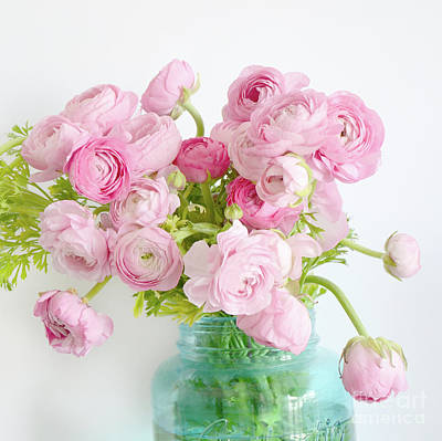 Ranunculus Flower Photograph - Shabby Chic Cottage Spring Summer Flowers - Ranunculus Roses Peonies Ethereal Dreamy Floral Prints by Kathy Fornal