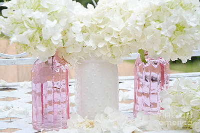 White Flower Photograph - Shabby Chic Cottage White Hydrangeas Pink And White Jars - Romantic White Hydrangeas Floral Art by Kathy Fornal