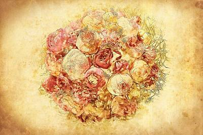 Painting - Shabby Chic Cream And Pink Roses by Shabby Chic and Vintage Art