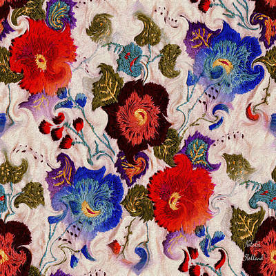 Tapestry - Textile - Shabby Chic Floral by Natalie Holland