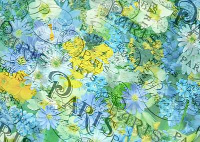 Mixed Media - Shabby Chic Floral Paris by Shabby Chic and Vintage Art