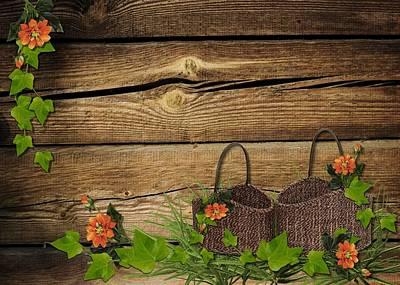 Shabby Chic Flowers In Rustic Basket Art Print