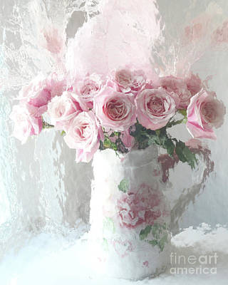 Shabby Chic Impressionistic Romantic Pink Roses In Vase - Pink And White Romantic Roses Decor Art Print by Kathy Fornal