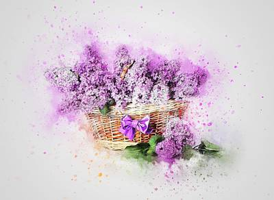 Painting - Shabby Chic Lavender In Basket by Shabby Chic and Vintage Art